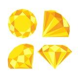 Flat diamond icon. Diamond icons set, flat style design Stock Photo