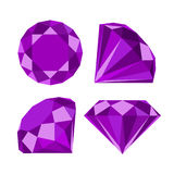 Flat diamond icon. Diamond icons set, flat style design Stock Image