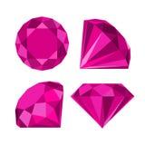 Flat diamond icon. Diamond icons set, flat style design stock illustration