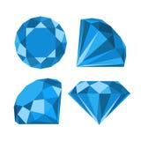 Flat diamond icon. Diamond icons set, flat style design Royalty Free Stock Photos