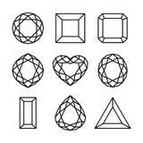 Flat diamond icon. Outline icon set, various of shapes diamond / gem Stock Photos
