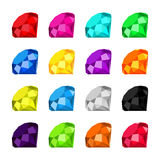 Flat diamond icon. Icon set diamonds with a wide variety of colors stock illustration