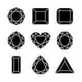 Flat diamond icon. Vector black icon set, various of shapes diamond / gem Stock Photos