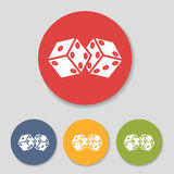 Flat dice icons set. Flat dice in colorful circle icons set. Vector illustration Stock Photography
