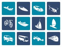 Flat different kind of transportation and travel icons. Vector icon set Stock Photography