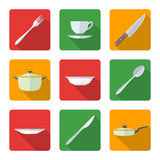 Flat dinnerwarwe icons set. Vector various flat style dinnerwarwe icons with shadow Royalty Free Stock Images