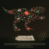 Flat dinosaur and prehistoric reptile animal infographic banner Stock Photos