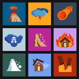 Flat disaster, damage vector icons Royalty Free Stock Image