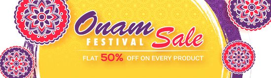 Flat 50% discount offer for Onam Festival Sale banner or header. With floral designs in sticker style on abstract background Royalty Free Stock Images