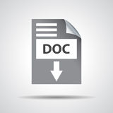Flat doc download icon on grey background Royalty Free Stock Images