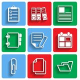 Flat Document Office Icons with Shadow Royalty Free Stock Photo