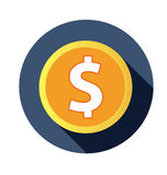 Flat dollar icon with long shadow Royalty Free Stock Photography