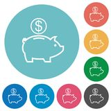 Flat dollar piggy bank icons. Flat dollar piggy bank icon set on round color background Stock Image