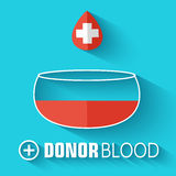 Flat donor blood background. vector illustration Royalty Free Stock Images