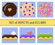 Flat donuts and eclairs set Royalty Free Stock Images
