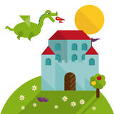 Flat dragon and castle Stock Images