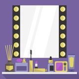 Flat dressing room mirror. Cosmetics and beauty accessories Stock Image