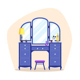 Flat dressing tables. Cute colorful flat dressing tables with girl`s things, mirror, perfume, lipstick, cosmetic. Isolated interior objects for dressing woman royalty free illustration