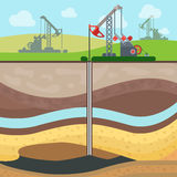 Flat drilling rig oil field soil layers vector. Flat Industrial drilling rig and Oil field, Soil layers vector illustration. Extraction of nature resources Royalty Free Stock Photography