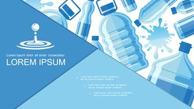 Flat Drinking Clear Water Composition vector illustration