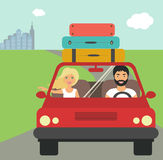 Flat Drive to summer holiday vector illustration Stock Photos