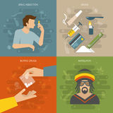Flat Drugs Composition. With four square icon set on drug addiction buying drugs themes vector illustration Royalty Free Stock Photo