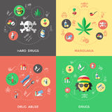 Flat Drugs Icon Set Stock Images