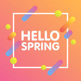 Flat dynamic background design. Colorful geometric on white background with frame and Hello Spring Text. Vector illustration Royalty Free Stock Photos