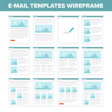 Flat e-mail templates wireframe Royalty Free Stock Images