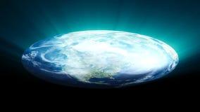 Flat Earth on black background. Digital illustration. 3d rendering stock image