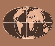 Flat earth. Brown clay. World map stylized vector image. Flat earth. Brown clay Royalty Free Stock Image