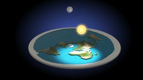 Flat Earth 3D Model. Day and Night. Animation. Geocentric concept of universe.