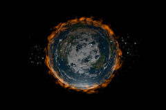 The Flat Earth inside stars and fire Royalty Free Stock Photo