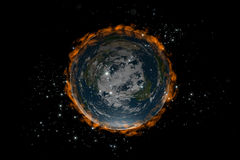 The Flat Earth inside stars and fire Royalty Free Stock Image