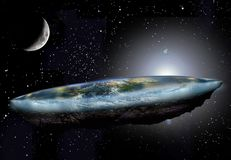 Flat Earth and Moon. Rising sun above a flat Earth surrounded by ice, floating in the cosmos, among stars, with the Moon at its first quarter vector illustration