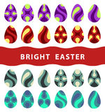 Flat easter eggs  on white background Stock Photos