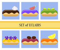 Flat eclairs set Royalty Free Stock Photography