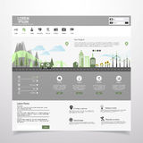 Flat eco city on Flat Website Template Design Stock Images