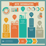 Flat eco city infographics template Stock Photography