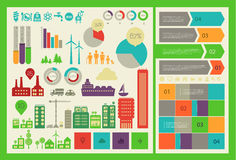 Flat eco city infographics template Royalty Free Stock Photo