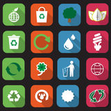 Flat eco icons Stock Images