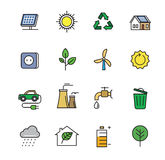 Flat eco icons. Vector black flat eco icons on white Royalty Free Stock Photography