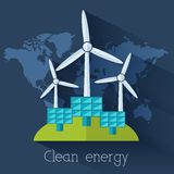 Flat eco nature clear energy of the world Royalty Free Stock Photos