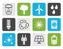 Flat Ecology, energy and nature icons. Vector Icon Set vector illustration