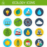 Flat ecology and energy vector icons Stock Images