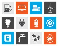 Flat Ecology, power and energy icons. Vector icon set Stock Photos