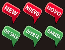 Flat ecommerce signs. New and On Sale simple flat style signs; english, spanish and portuguese. CMYK global colors, EPS8 vector illustration Stock Photography