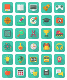Flat Education And Leisure Icons Set Stock Photo