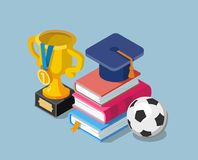 Flat education concept with books cup winner and soccer ball. Stock Photos