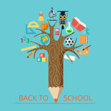 Flat Education conceptual pencil tree science  Stock Images